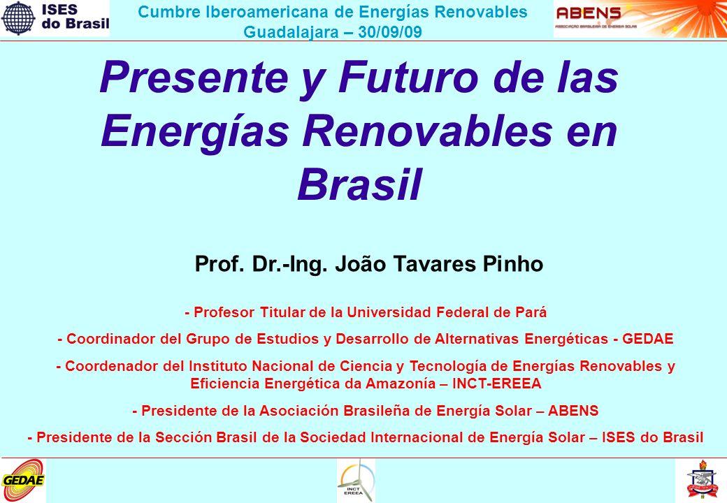 Presente y Futuro de las Energías Renovables en Brasil Prof. Dr.-Ing. João Tavares Pinho - Profesor Titular de la Universidad Federal de Pará - Coordi