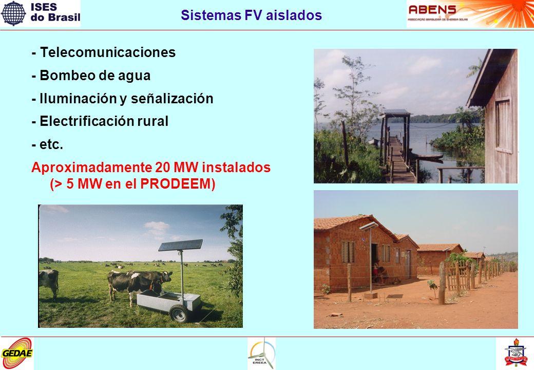 - Telecomunicaciones - Bombeo de agua - Iluminación y señalización - Electrificación rural - etc. Aproximadamente 20 MW instalados (> 5 MW en el PRODE