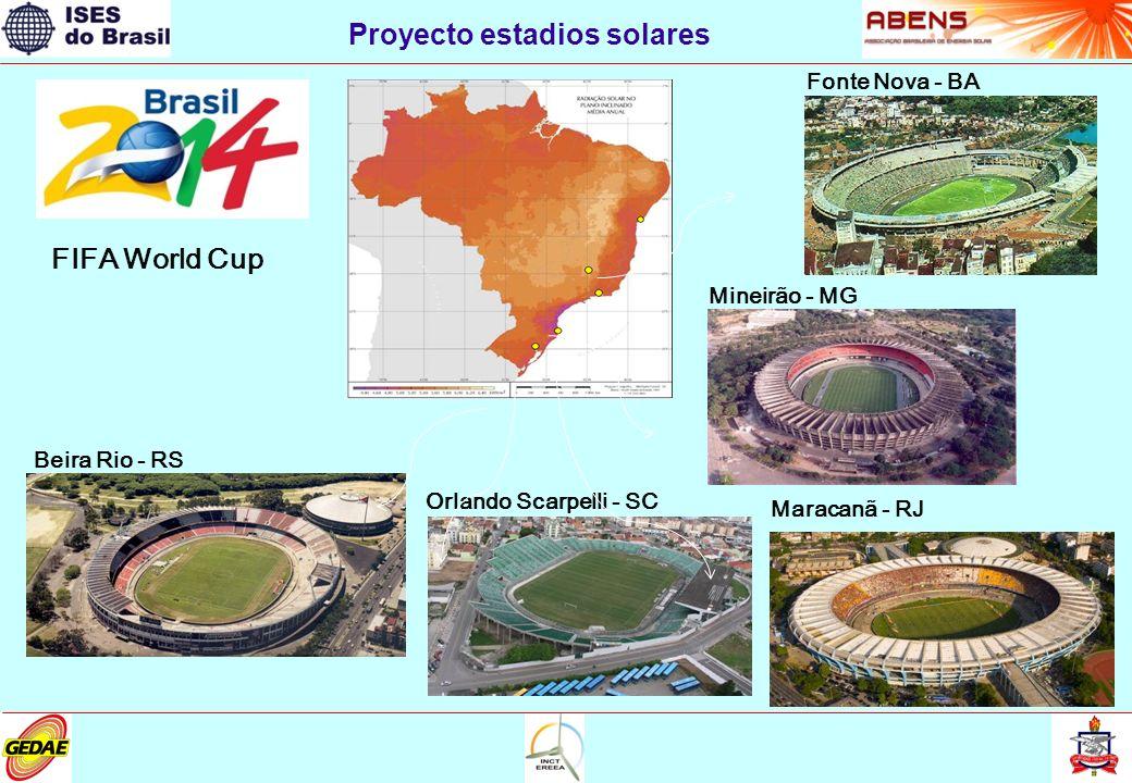 Proyecto estadios solares FIFA World Cup Beira Rio - RS Orlando Scarpelli - SC Maracanã - RJ Mineirão - MG Fonte Nova - BA