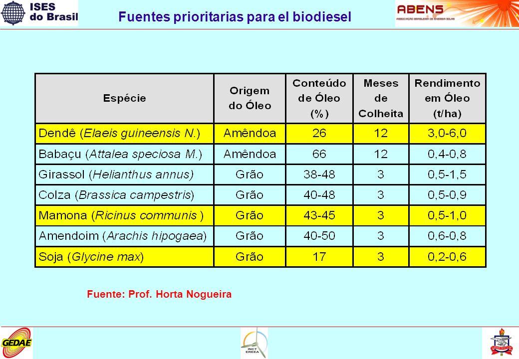 Fuentes prioritarias para el biodiesel Fuente: Prof. Horta Nogueira