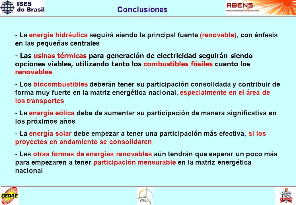 Conclusiones - La energía hidráulica seguirá siendo la principal fuente (renovable), con énfasis en las pequeñas centrales - Las usinas térmicas para