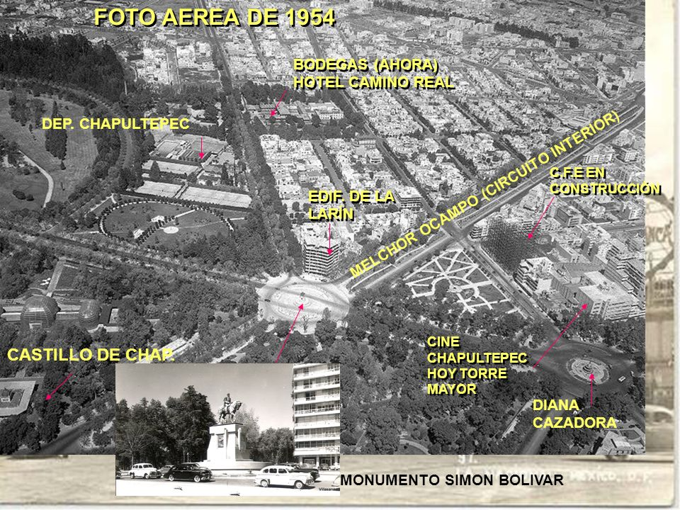 FOTO AEREA DE 1954 MELCHOR OCAMPO (CIRCUITO INTERIOR) DEP. CHAPULTEPEC CASTILLO DE CHAP. EDIF. DE LA LARÍN EDIF. DE LA LARÍN C.F.E EN CONSTRUCCIÓN C.F