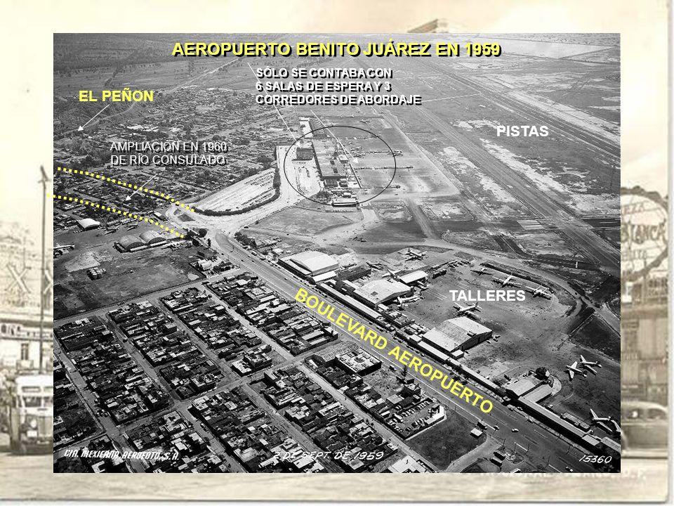 AEROPUERTO BENITO JUÁREZ EN 1959 BOULEVARD AEROPUERTO EL PEÑON AMPLIACIÓN EN 1960 DE RÍO CONSULADO AMPLIACIÓN EN 1960 DE RÍO CONSULADO SÓLO SE CONTABA