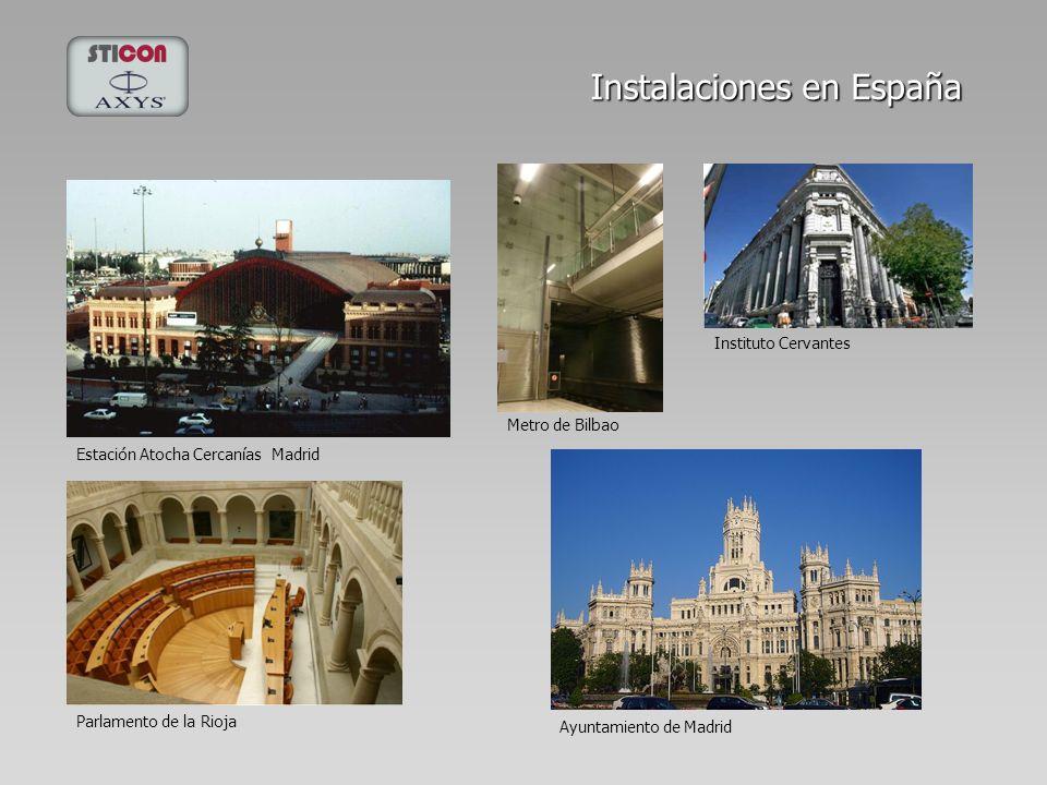 Instalaciones en España Ayuntamiento de Madrid Estación Atocha Cercanías Madrid Metro de Bilbao Parlamento de la Rioja Instituto Cervantes