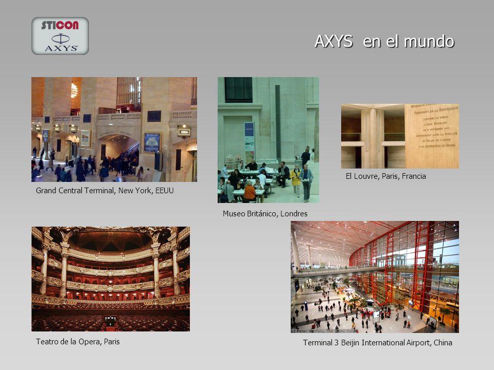 Terminal 3 Beijin International Airport, China Grand Central Terminal, New York, EEUU Museo Británico, Londres El Louvre, Paris, Francia AXYS en el mu