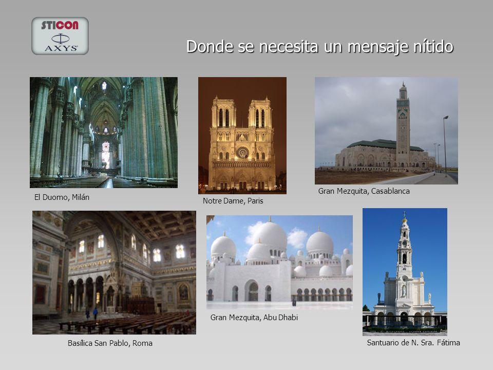 El Duomo, Milán Donde se necesita un mensaje nítido Notre Dame, Paris Basílica San Pablo, Roma Gran Mezquita, Casablanca Santuario de N. Sra. Fátima G