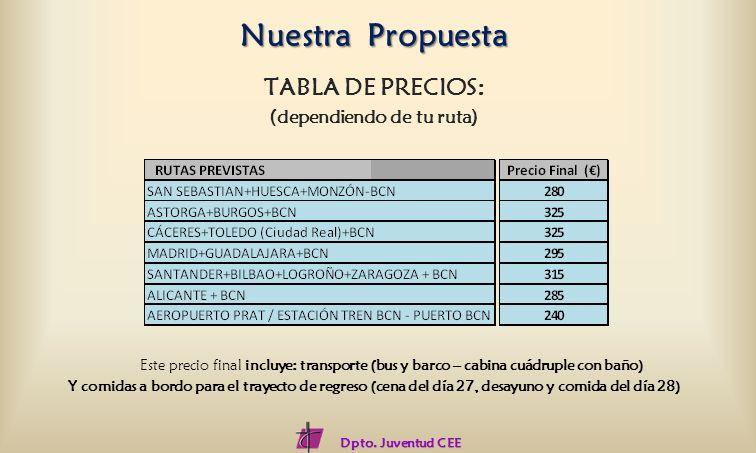TABLA DE PRECIOS: (dependiendo de tu ruta) Este precio final incluye: transporte (bus y barco – cabina cuádruple con baño) Y comidas a bordo para el t