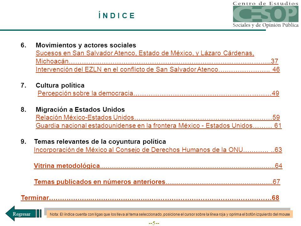--5-- Í N D I C E 6.Movimientos y actores sociales Sucesos en San Salvador Atenco, Estado de México, y Lázaro Cárdenas, Michoacán………………………………………………………………………………..37Sucesos en San Salvador Atenco, Estado de México, y Lázaro Cárdenas, Michoacán………………………………………………………………………………..37 Intervención del EZLN en el conflicto de San Salvador Atenco….………………..