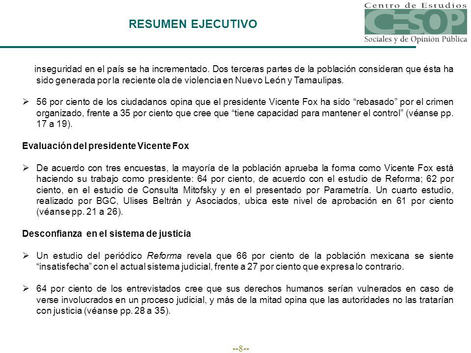 --8-- RESUMEN EJECUTIVO inseguridad en el país se ha incrementado.