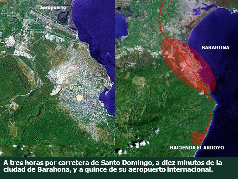 A tres horas por carretera de Santo Domingo, a diez minutos de la ciudad de Barahona, y a quince de su aeropuerto internacional. BARAHONA HACIENDA EL