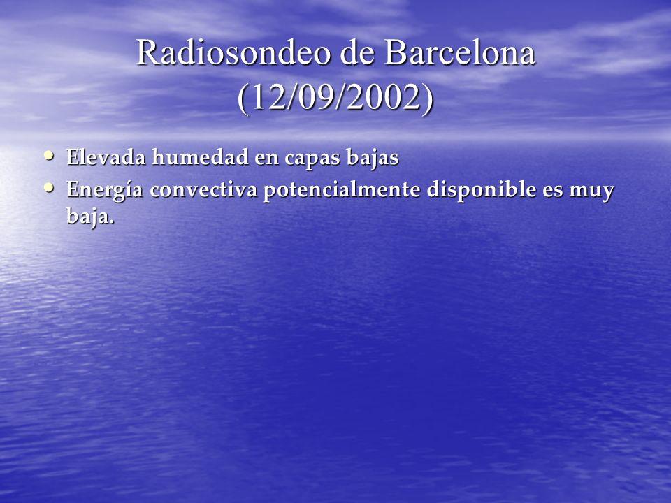 Radiosondeo de Barcelona (12/09/2002) Elevada humedad en capas bajas Elevada humedad en capas bajas Energía convectiva potencialmente disponible es mu