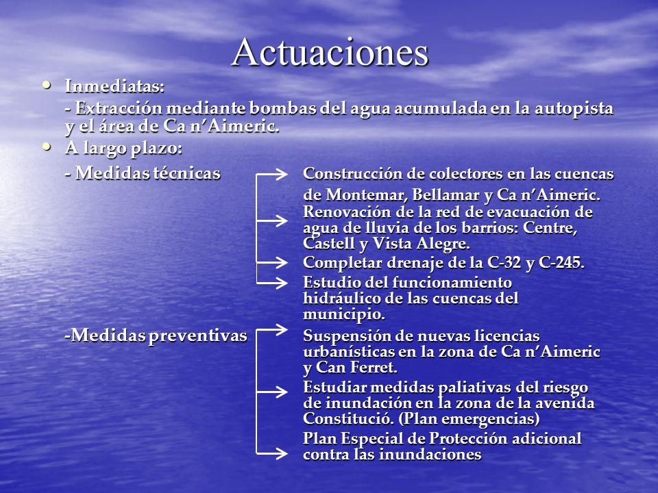 Actuaciones Inmediatas: Inmediatas: - Extracción mediante bombas del agua acumulada en la autopista y el área de Ca nAimeric. A largo plazo: A largo p