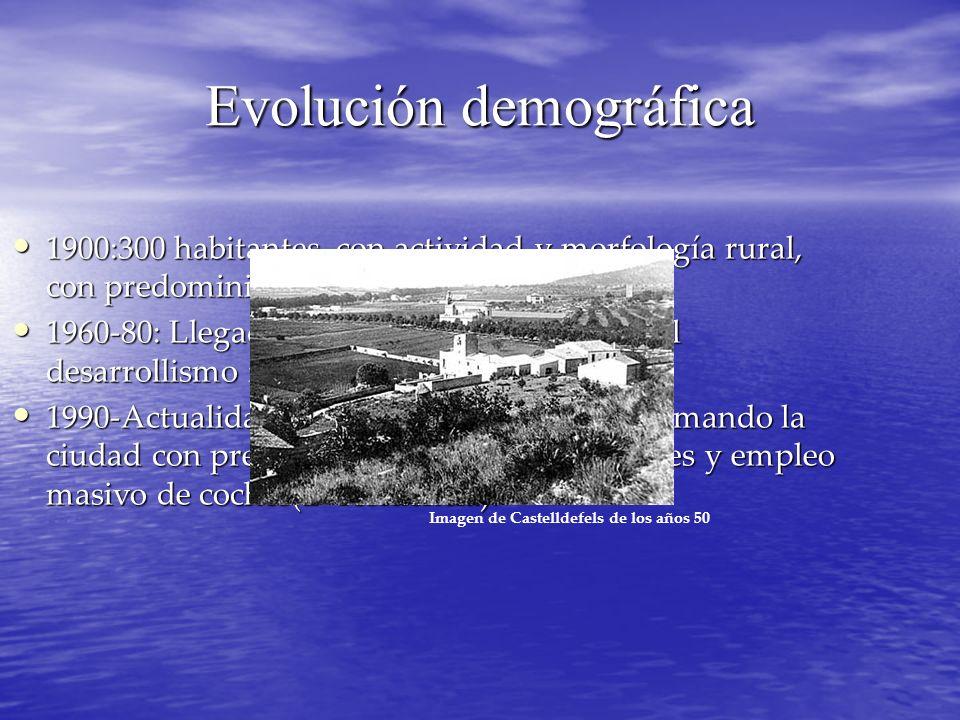 Evolución demográfica 1900:300 habitantes, con actividad y morfología rural, con predominio de masias. 1900:300 habitantes, con actividad y morfología
