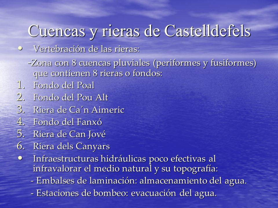 Cuencas y rieras de Castelldefels Vertebración de las rieras: Vertebración de las rieras: - Zona con 8 cuencas pluviales (periformes y fusiformes) que