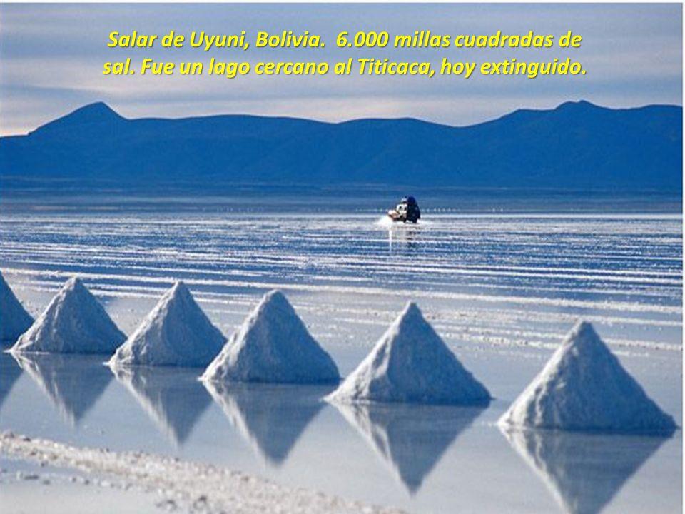 Salar de Uyuni, Bolivia.6.000 millas cuadradas de sal.