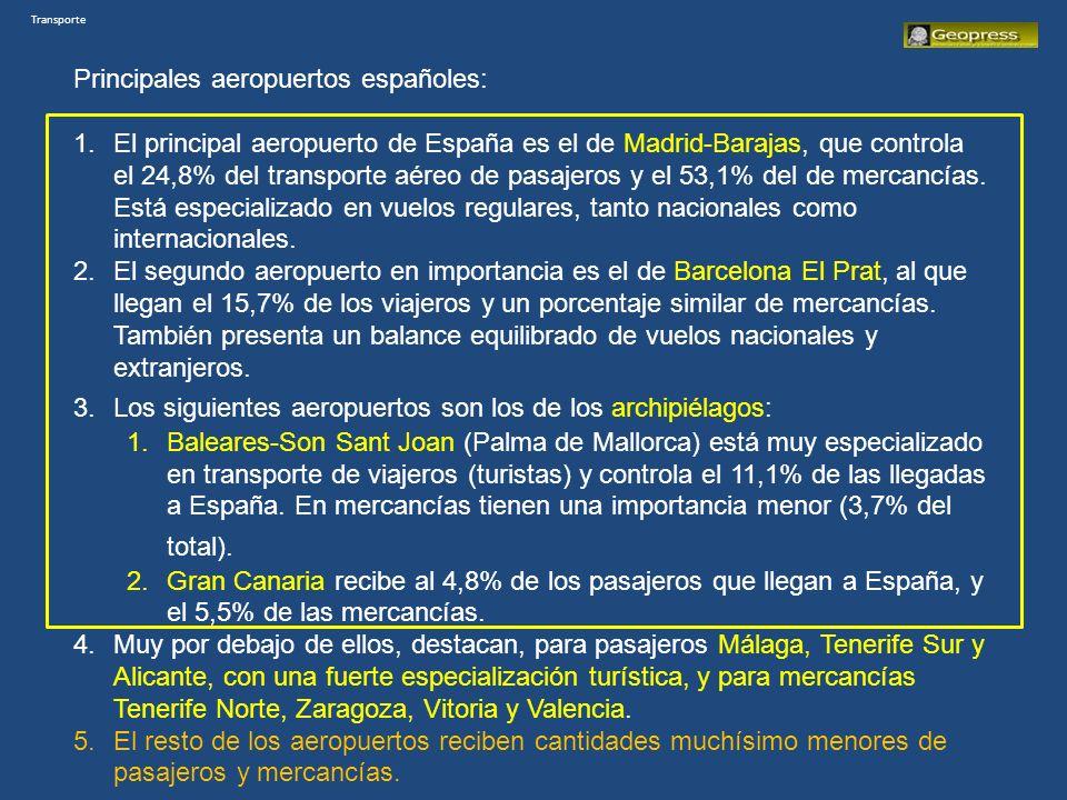 Principales aeropuertos españoles: 1.El principal aeropuerto de España es el de Madrid-Barajas, que controla el 24,8% del transporte aéreo de pasajeros y el 53,1% del de mercancías.
