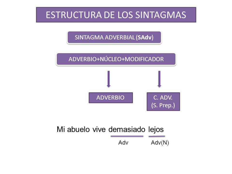 SINTAGMA ADVERBIAL (SAdv) ADVERBIOC. ADV. (S. Prep.) ADVERBIO+NÚCLEO+MODIFICADOR ESTRUCTURA DE LOS SINTAGMAS Mi abuelo vive demasiado lejos AdvAdv(N)