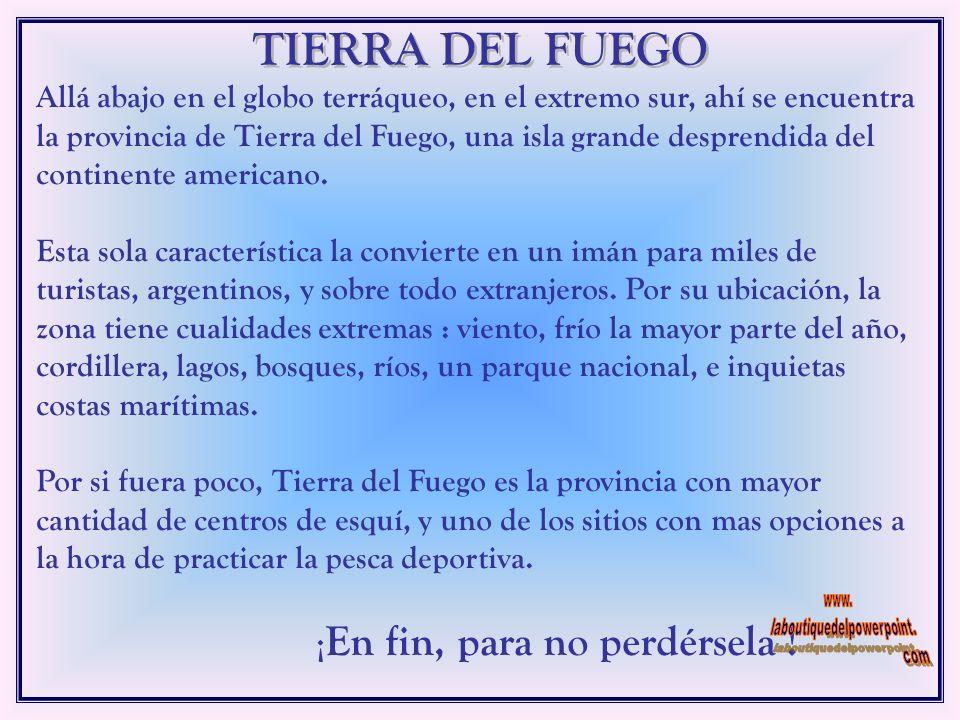 TIERRA DEL FUEGO ARGENTINA TIERRA DEL FUEGO ARGENTINA Tierra del Fuego, Antártida e Islas del Atlántico Sur es el nombre oficial de la provincia más m