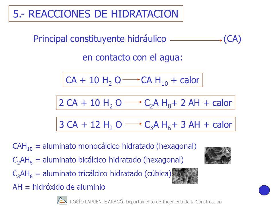 ROCÍO LAPUENTE ARAGÓ- Departamento de Ingeniería de la Construcción Principal constituyente hidráulico (CA) en contacto con el agua: 5.- REACCIONES DE HIDRATACION CAH 10 = aluminato monocálcico hidratado (hexagonal) C 2 AH 8 = aluminato bicálcico hidratado (hexagonal) C 3 AH 6 = aluminato tricálcico hidratado (cúbica) AH = hidróxido de aluminio CA + 10 H 2 O CA H 10 + calor 2 CA + 10 H 2 O C 2 A H 8 + 2 AH + calor 3 CA + 12 H 2 O C 3 A H 6 + 3 AH + calor