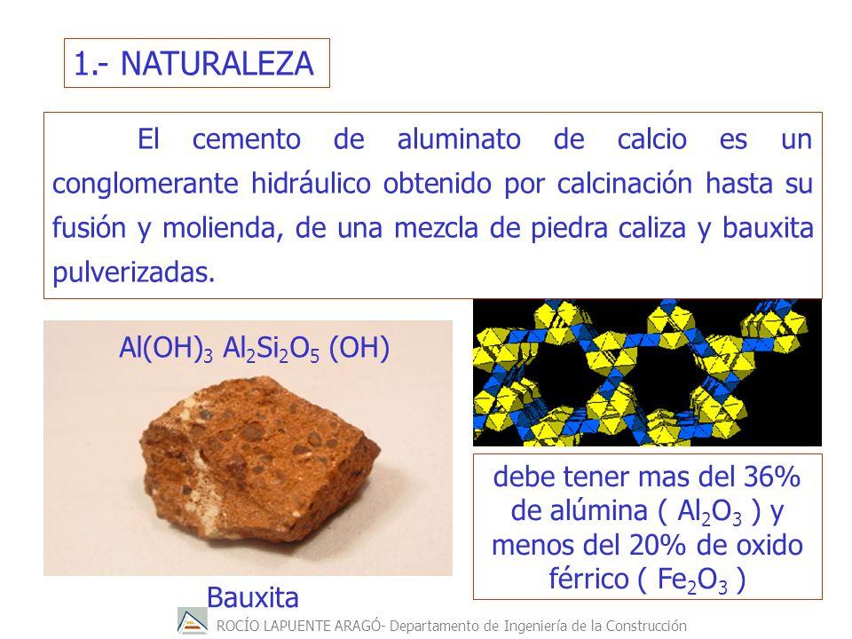 ROCÍO LAPUENTE ARAGÓ- Departamento de Ingeniería de la Construcción 1.- NATURALEZA Bauxita Al(OH) 3 Al 2 Si 2 O 5 (OH) El cemento de aluminato de calcio es un conglomerante hidráulico obtenido por calcinación hasta su fusión y molienda, de una mezcla de piedra caliza y bauxita pulverizadas.