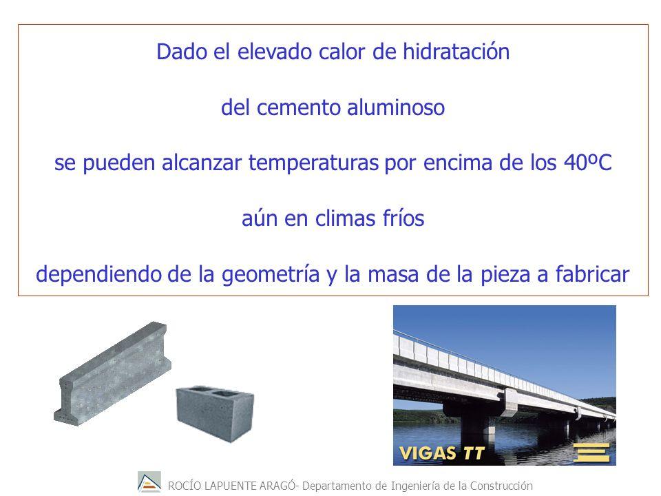 ROCÍO LAPUENTE ARAGÓ- Departamento de Ingeniería de la Construcción Dado el elevado calor de hidratación del cemento aluminoso se pueden alcanzar temperaturas por encima de los 40ºC aún en climas fríos dependiendo de la geometría y la masa de la pieza a fabricar