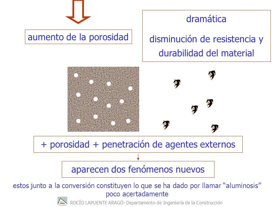 ROCÍO LAPUENTE ARAGÓ- Departamento de Ingeniería de la Construcción dramática disminución de resistencia y durabilidad del material + porosidad + pene