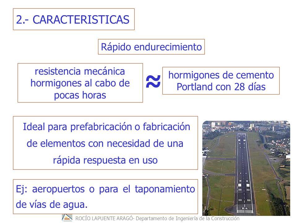 ROCÍO LAPUENTE ARAGÓ- Departamento de Ingeniería de la Construcción 2.- CARACTERISTICAS Ej: aeropuertos o para el taponamiento de vías de agua. Rápido