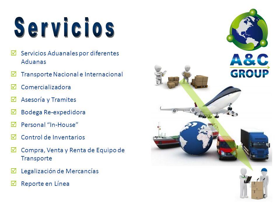 Servicios Aduanales por diferentes Aduanas Transporte Nacional e Internacional Comercializadora Asesoría y Tramites Bodega Re-expedidora Personal In-H