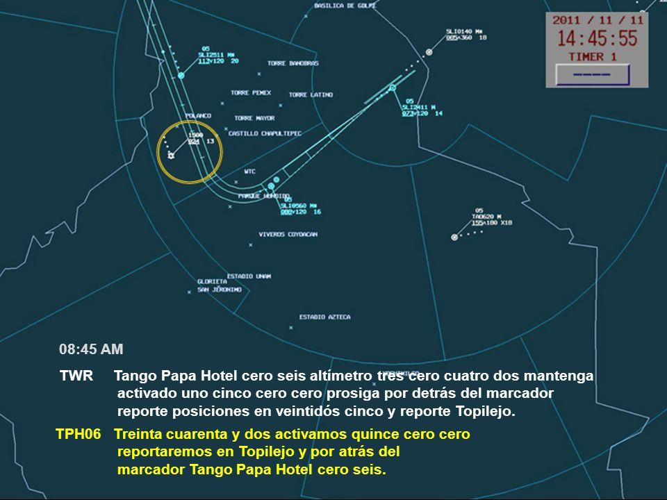 TWR Tango Papa Hotel cero seis altímetro tres cero cuatro dos mantenga activado uno cinco cero cero prosiga por detrás del marcador reporte posiciones