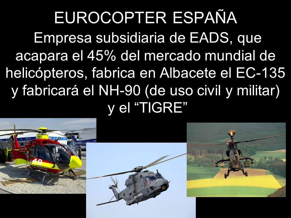 EUROCOPTER ESPAÑA Empresa subsidiaria de EADS, que acapara el 45% del mercado mundial de helicópteros, fabrica en Albacete el EC-135 y fabricará el NH-90 (de uso civil y militar) y el TIGRE