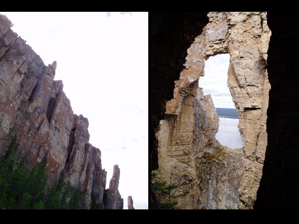 Este bosque de piedra, compuesto por columnas de roca caliza que alcanzan los 150 metros de altura, se extiende 80 Kilómetros a los pies del río Lena.