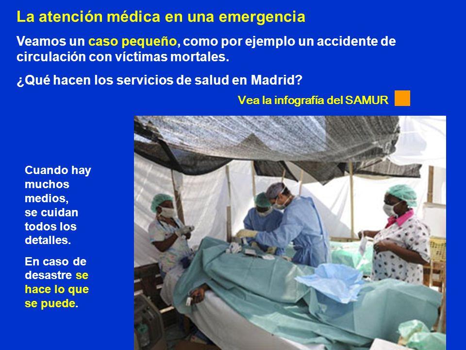 La atención médica en una emergencia Veamos un caso pequeño, como por ejemplo un accidente de circulación con víctimas mortales. ¿Qué hacen los servic