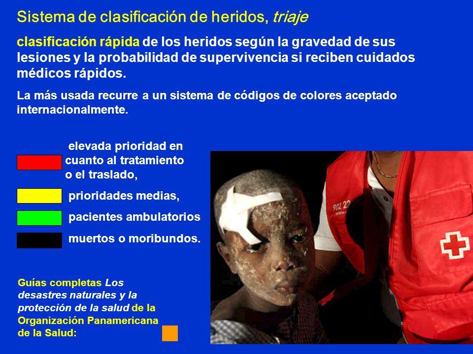 Sistema de clasificación de heridos, triaje clasificación rápida de los heridos según la gravedad de sus lesiones y la probabilidad de supervivencia s