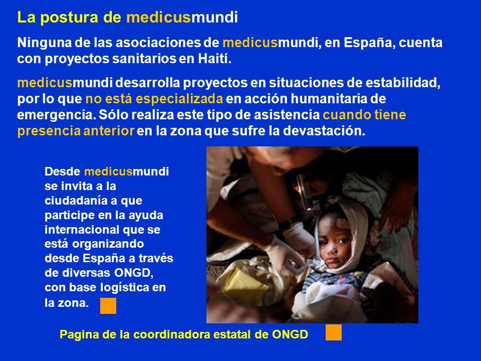 La postura de medicusmundi Ninguna de las asociaciones de medicusmundi, en España, cuenta con proyectos sanitarios en Haití. medicusmundi desarrolla p
