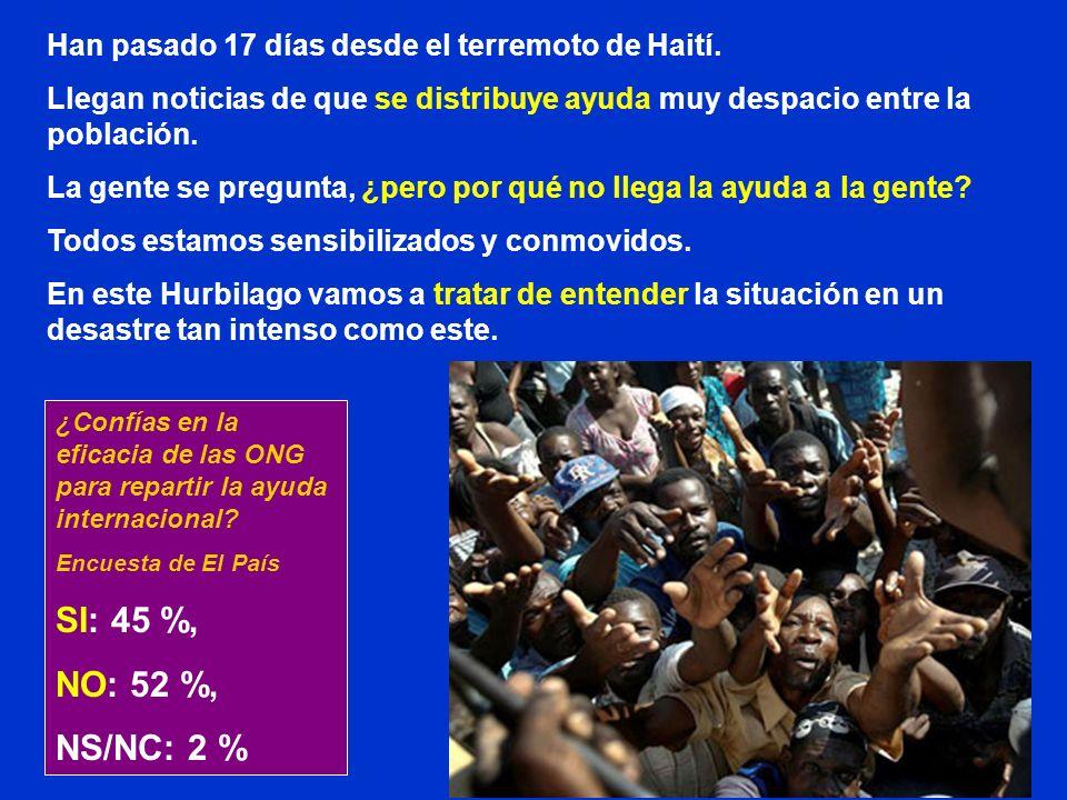 Han pasado 17 días desde el terremoto de Haití. Llegan noticias de que se distribuye ayuda muy despacio entre la población. La gente se pregunta, ¿per