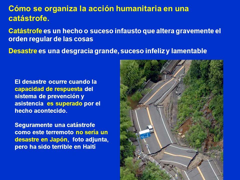 Cómo se organiza la acción humanitaria en una catástrofe. Catástrofe es un hecho o suceso infausto que altera gravemente el orden regular de las cosas