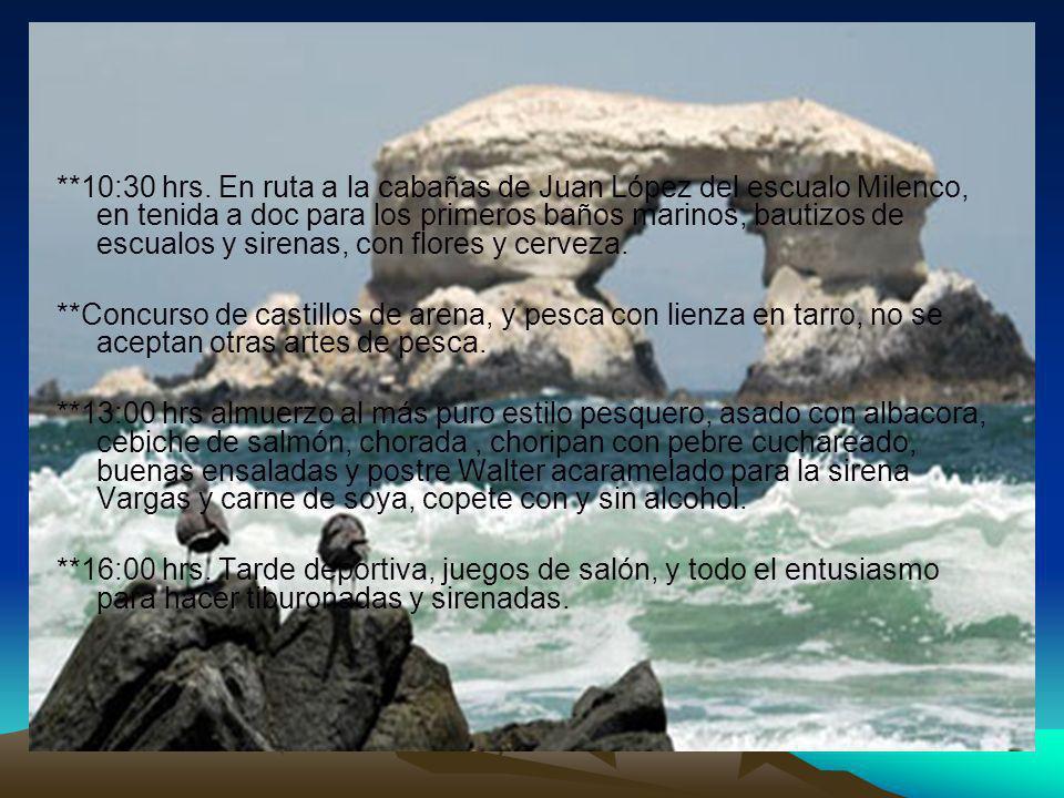 **10:30 hrs. En ruta a la cabañas de Juan López del escualo Milenco, en tenida a doc para los primeros baños marinos, bautizos de escualos y sirenas,