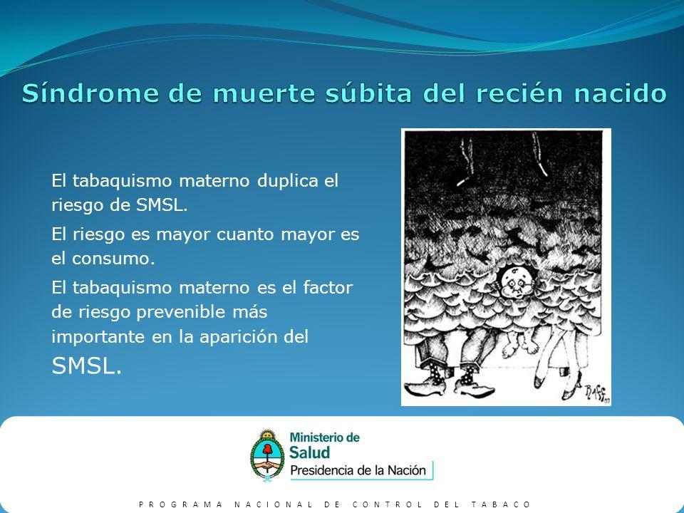 PROGRAMA NACIONAL DE CONTROL DEL TABACO Menor función pulmonar.