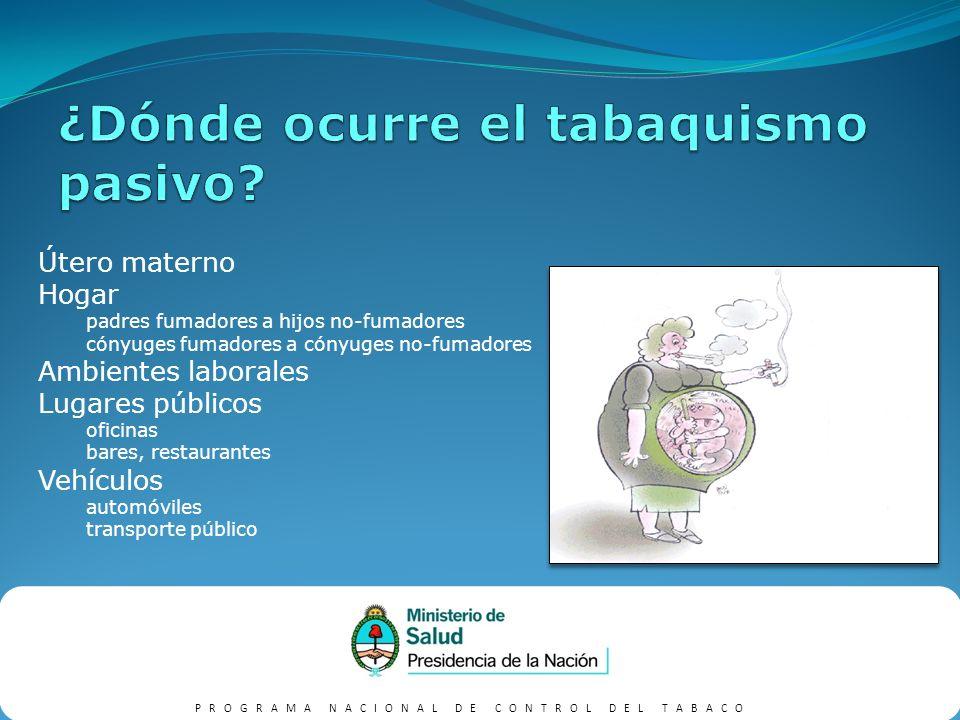 PROGRAMA NACIONAL DE CONTROL DEL TABACO Cuestionarios Marcadores Biológicos Cotinina Monóxido de carbono Medición de contaminantes en el aire Partículas Monóxido de Carbono Nitrosaminas Etilenpiridina Nicotina