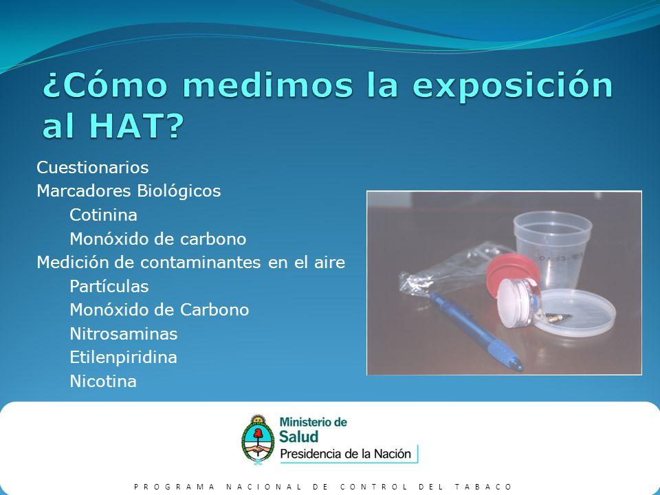 PROGRAMA NACIONAL DE CONTROL DEL TABACO Parte de estudio multicéntrico 120 monitores en lugares representativos 7-14 días Mayores niveles de nicotina por microg./m3 en dependencias del Gob.