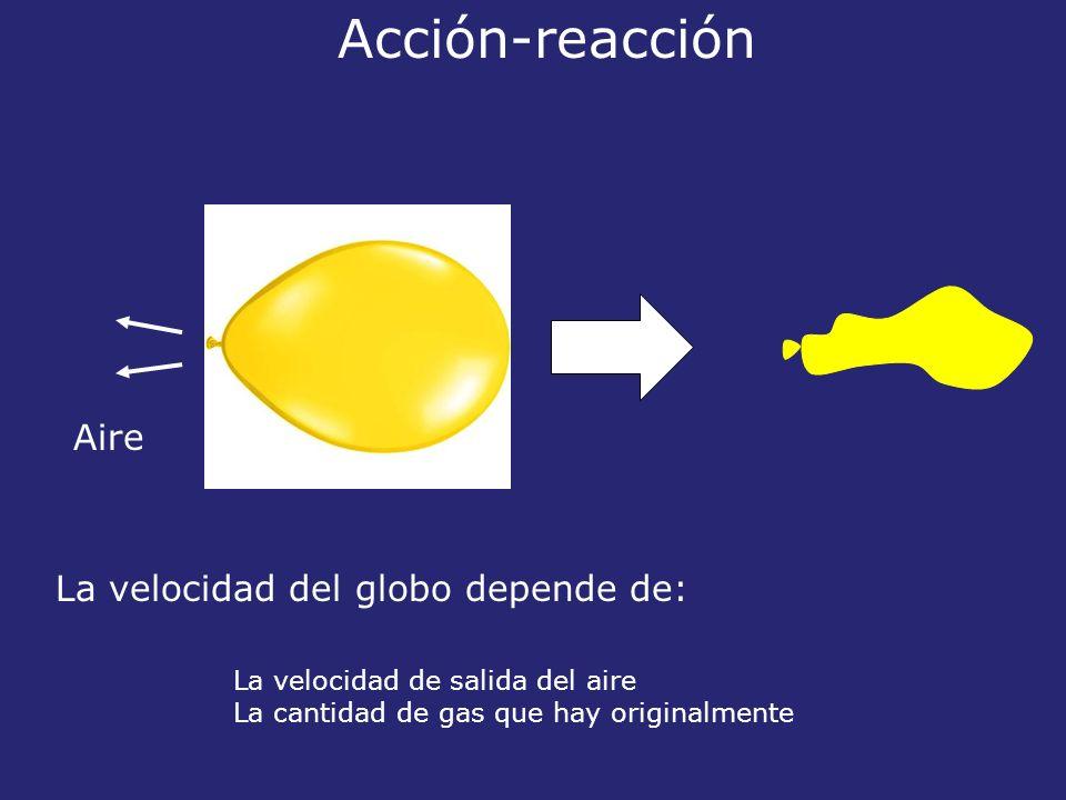 Acción-reacción Aire La velocidad del globo depende de: La velocidad de salida del aire La cantidad de gas que hay originalmente