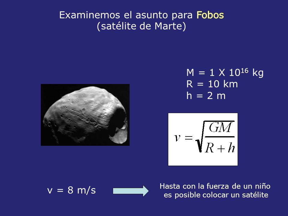 M = 1 X 10 16 kg R = 10 km h = 2 m v = 8 m/s Hasta con la fuerza de un niño es posible colocar un satélite