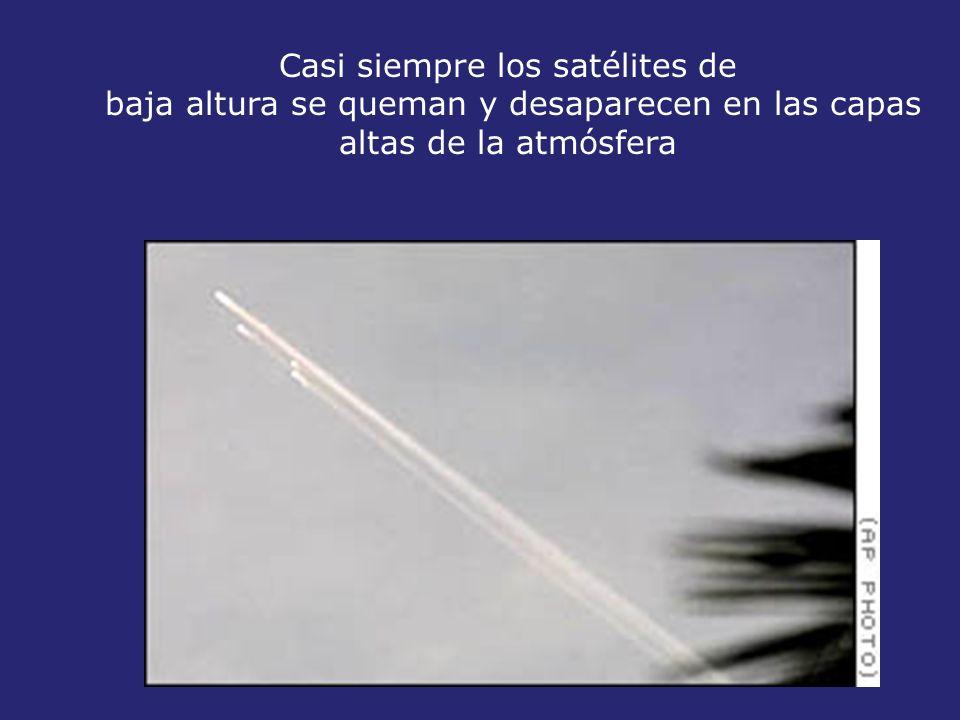 Casi siempre los satélites de baja altura se queman y desaparecen en las capas altas de la atmósfera