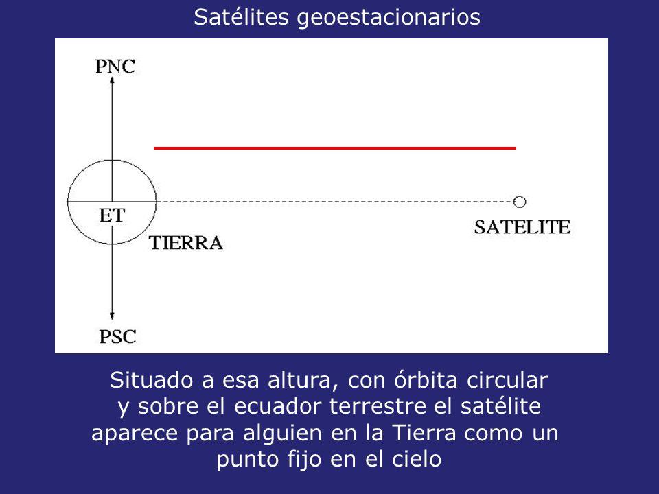 35800 km Situado a esa altura, con órbita circular y sobre el ecuador terrestre el satélite aparece para alguien en la Tierra como un punto fijo en el cielo Satélites geoestacionarios