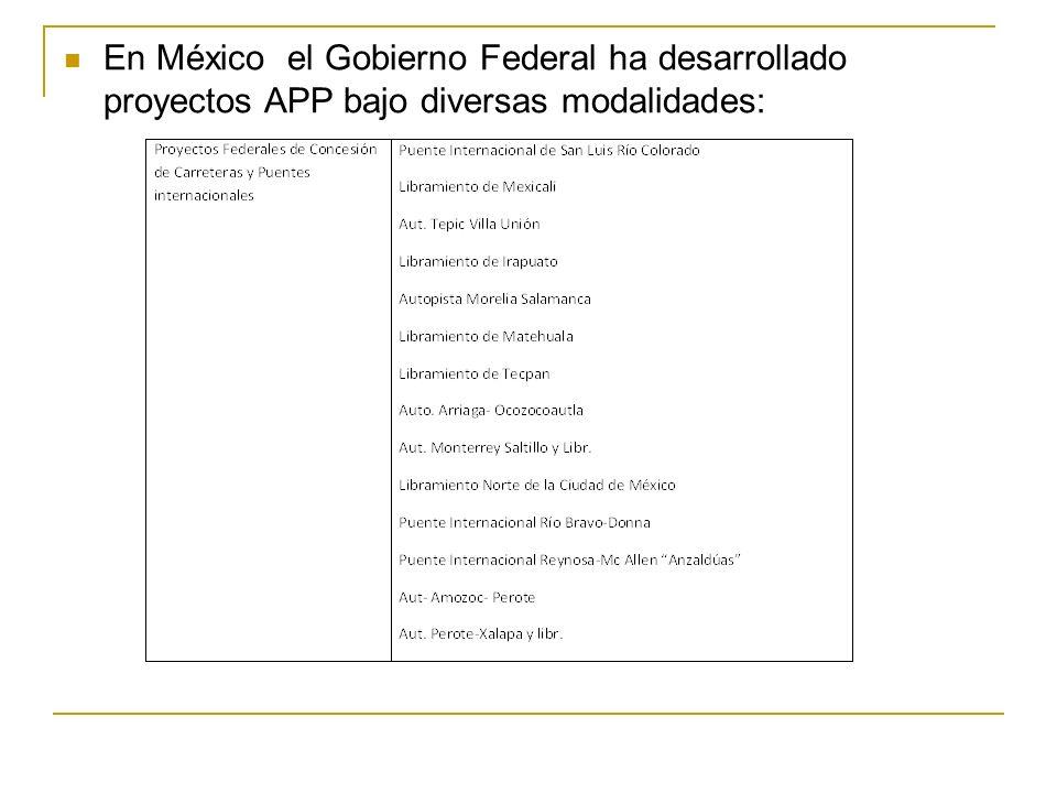 En México el Gobierno Federal ha desarrollado proyectos APP bajo diversas modalidades: