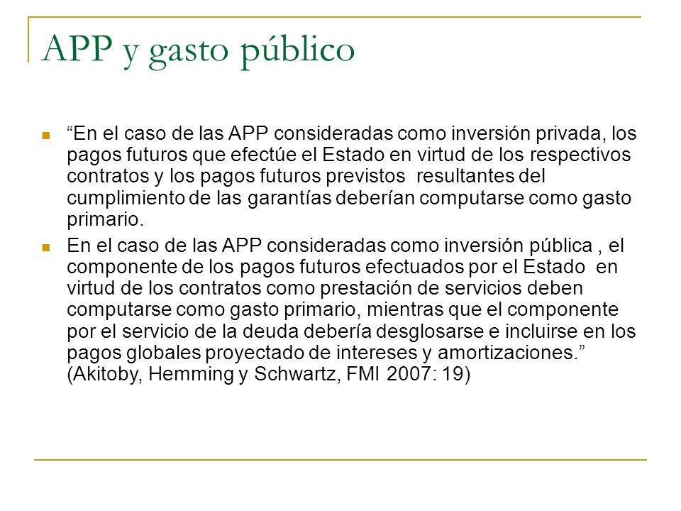 APP y gasto público En el caso de las APP consideradas como inversión privada, los pagos futuros que efectúe el Estado en virtud de los respectivos contratos y los pagos futuros previstos resultantes del cumplimiento de las garantías deberían computarse como gasto primario.