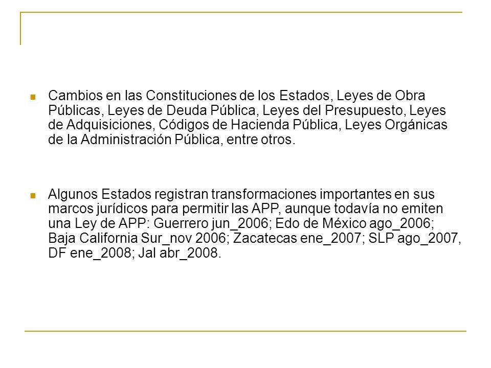 APP en México Las APP en México se han desarrollado en diversos sectores de la economía: carreteras concesiones, esquemas de proyectos de prestación de servicios y esquemas mixtos; hospitales de alta especialidad, instalaciones universitarias, centros carcelarios, sector energético, aeropuertos, ferrocarriles y proyectos estatales.