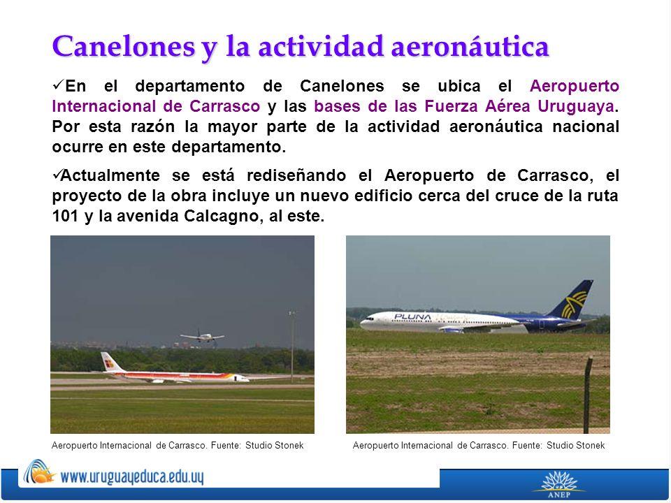En el departamento de Canelones se ubica el Aeropuerto Internacional de Carrasco y las bases de las Fuerza Aérea Uruguaya. Por esta razón la mayor par