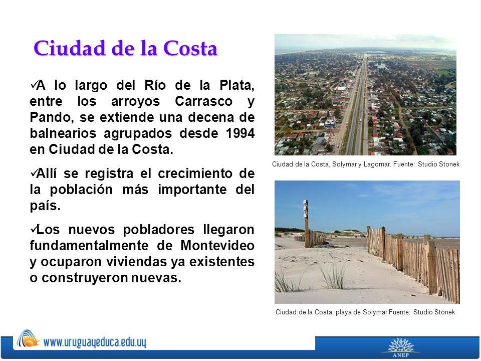 A lo largo del Río de la Plata, entre los arroyos Carrasco y Pando, se extiende una decena de balnearios agrupados desde 1994 en Ciudad de la Costa. A