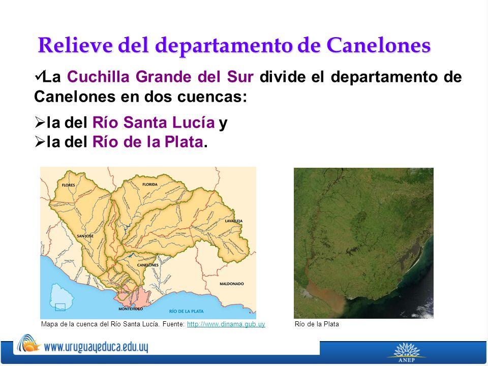 La Cuchilla Grande del Sur divide el departamento de Canelones en dos cuencas: la del Río Santa Lucía y la del Río de la Plata. Relieve del departamen